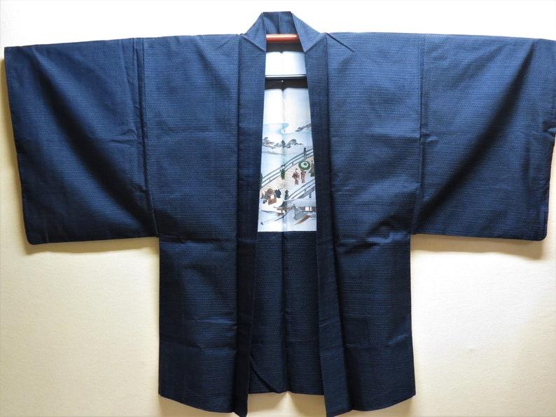 Silk Jacket HAORI MANS Oshima Tsumugi Indigo Silk Navy Blue Japanese Mens Kimono Antique Japanese Silk Haori People Visit on Bridge