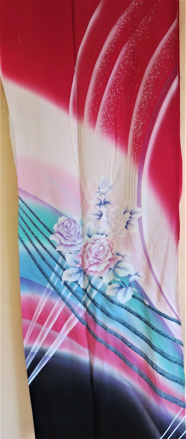 FABRIC Japanese Silk Fabric from a Vintage Furisode Kimono Rose Pink Blue Urushi Sparkle Rainbow Kimono Rose Crepe Silk Fabric 24 W X 67L