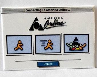 "Vintage AOL America Online Computer Log On 2"" x 3"" Fridge MAGNET Art Nostalgic"
