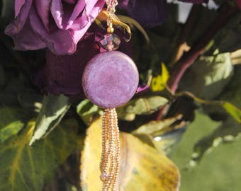 Purple and Gold Tassel Necklace