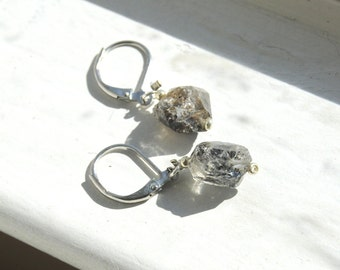 Raw Herkimer Diamond Nugget Earrings