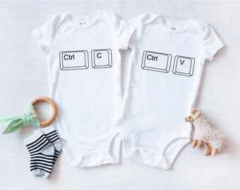 e1af37d01f Copy Paste Twins Onesies® - Twin Baby Gift - Baby Shower Gift - Twin Baby  Shower Gift - Nerdy Baby Onesies® - Ctrl+C Ctrl+V Baby