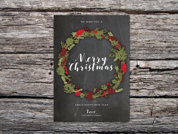 Christmas Wreath Card Printable Christmas Cards Holiday Card Etsy