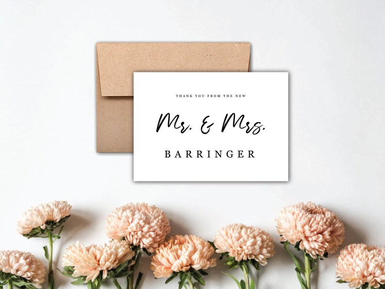 Thank You From the New Mr and Mrs Wedding Thank You Card - Wedding Thank You Notes Simple Wedding Thank You Card