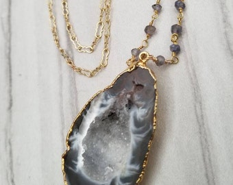 Agate druzy pendant necklace with rosary chain and 14k gold fill chain