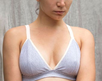 32b9ce18c6ac6 Organic Cotton Gray Bralette. Soft Wireless Bra. Comfortable Supportive  Bralette. Natural Handmade Lingerie