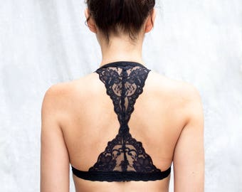 Black Lace Bralette. Triangle back. Halter Wireless Bra Top. Unique Lingerie