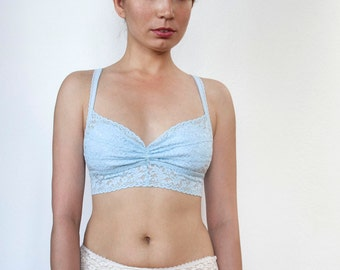 7cdd443e59 Baby Blue Lace Bralette. Soft Wireless Bra top. Handmade Lingerie