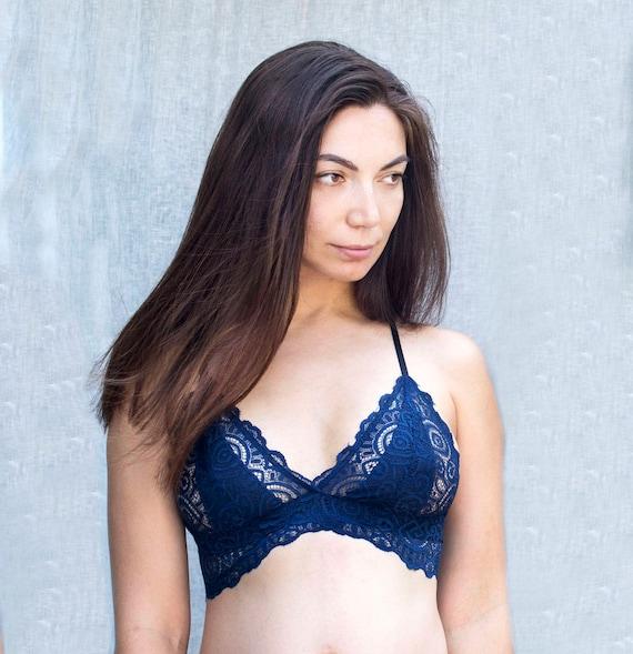 10a476f906 Lace Bralette. Deep Blue Soft Bralette Lace Bralette Top