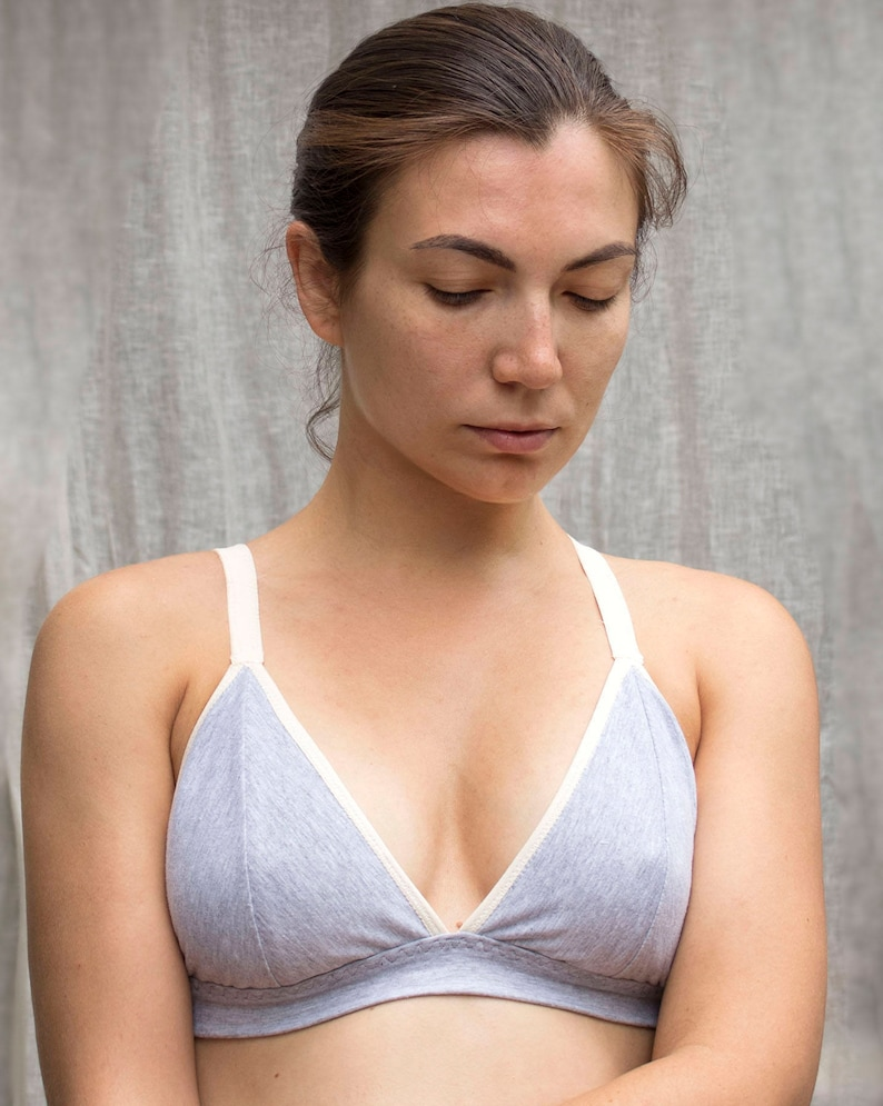 19c23586fd Organic Cotton Gray Bralette. Soft Wireless Bra. Comfortable