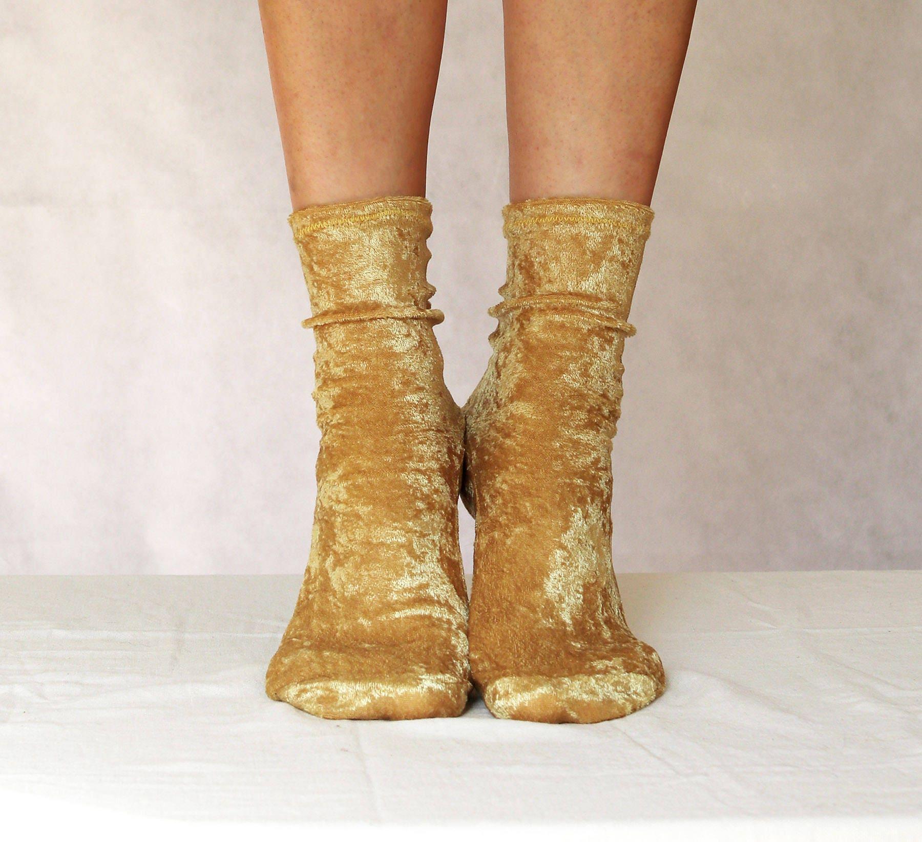 Golden Yellow Velvet Socks. Handmade Women's Socks.