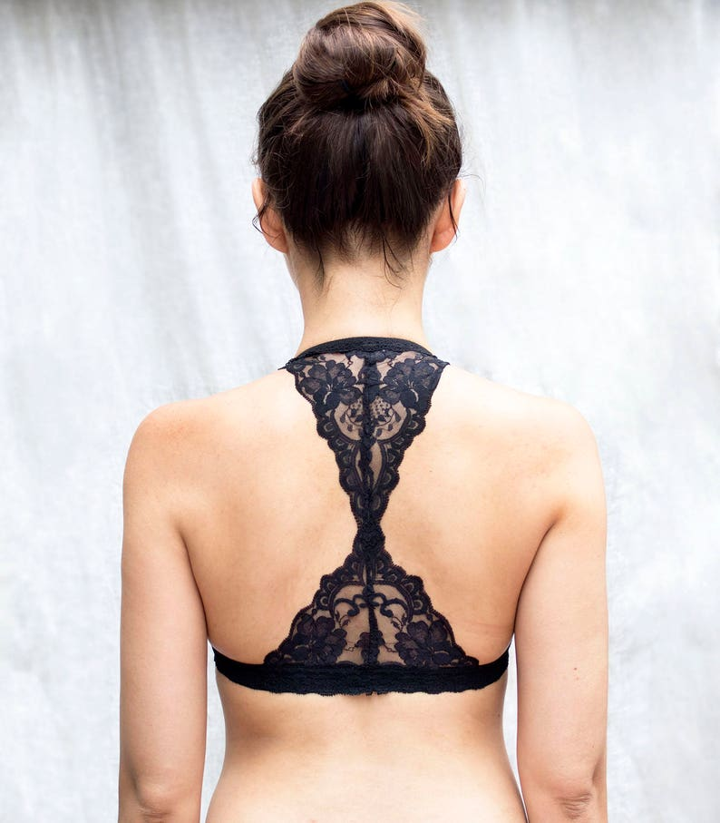 9e7431ea041 Black Lace Bralette. Triangle back. Halter Wireless Bra Top.
