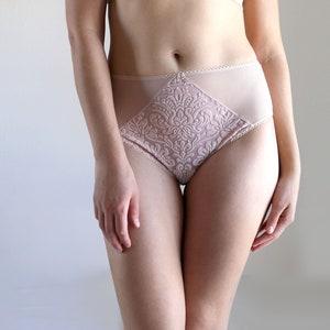 Bohemian Inspired Lingerie Mid Rise Velvet and Mesh Panties
