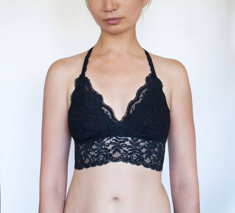 e6588e4db2 Black Lace Bralette. Black Bralette. Black lace Top. Triangle