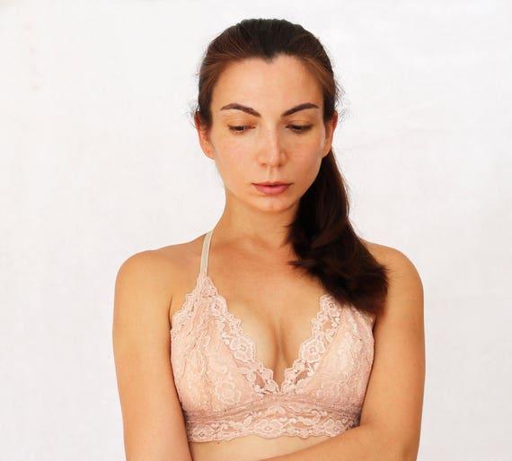 3a21902527 Beige Blush Lace Bralette. Triangle Skin Color Soft Wireless