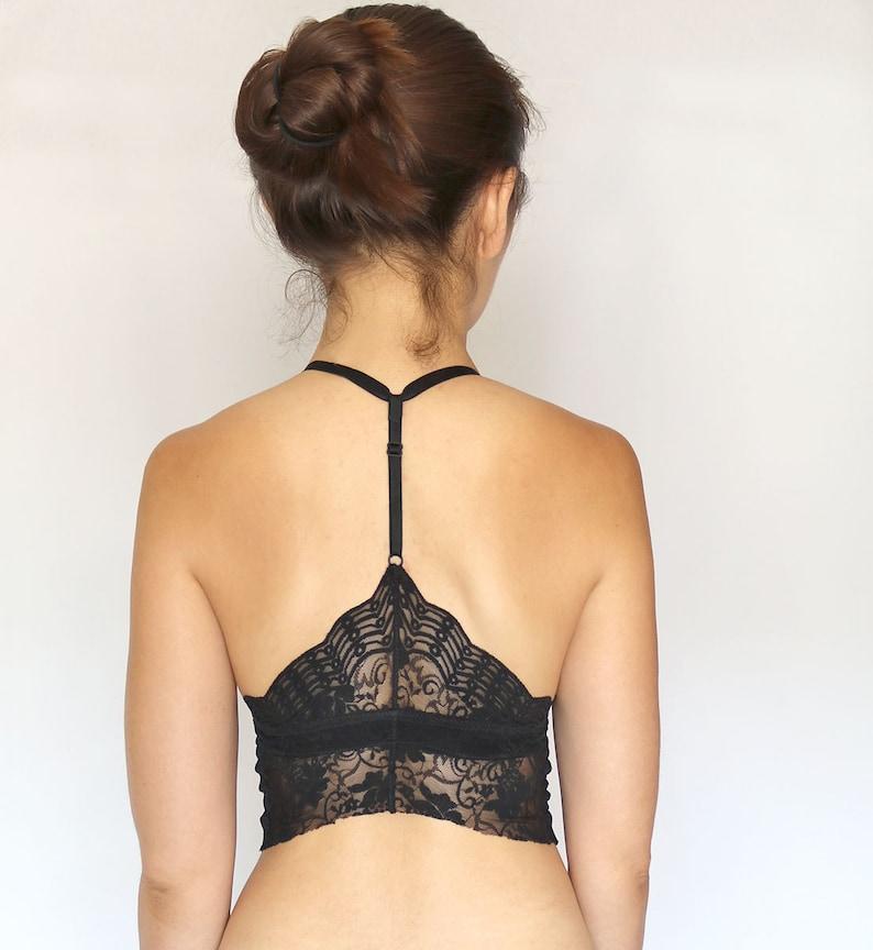 7c8724c7e45576 Black Lace Bralette. Deep V Neck. Lace Crop Top. Lingerie