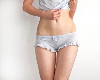 Heathered Grey Ruffled Panties Boyshorts. Pajamas shorts. Womens Shorts. Girly Lingerie