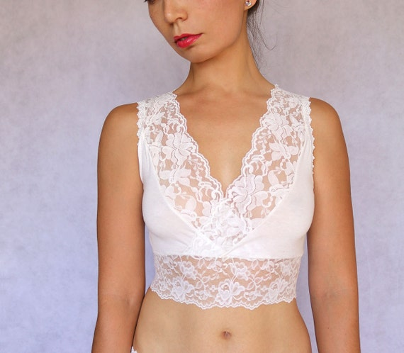 05bb43e300 Ivory Lace Bralette Top. Sleep Bra. Bridal Lingerie. Wedding