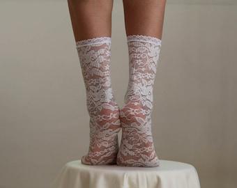 Lace Socks. Beautiful Ivory Floral Design. Ankle Socks. Women's Socks. Lace Trim.