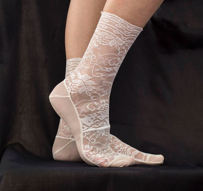 b4758592aa Lace Socks. Off White Floral Lace with Scalloped Edge. Ankle Socks. Women's  Socks. Bridal Socks
