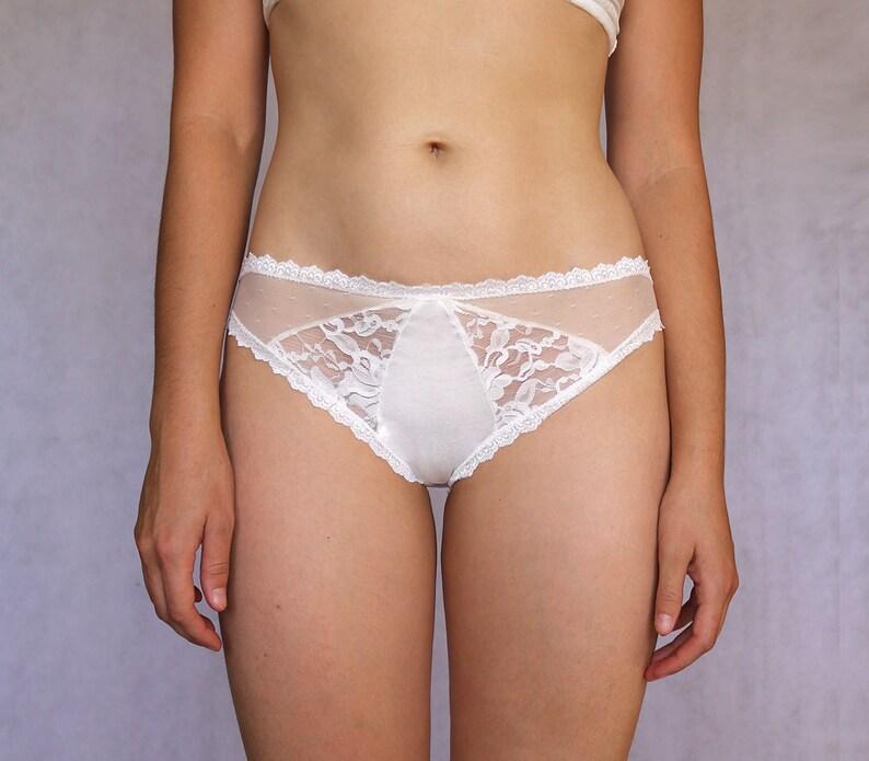 13b511ab14 Beautiful Ivory Bridal Lace Panties. Multitextured Off White.