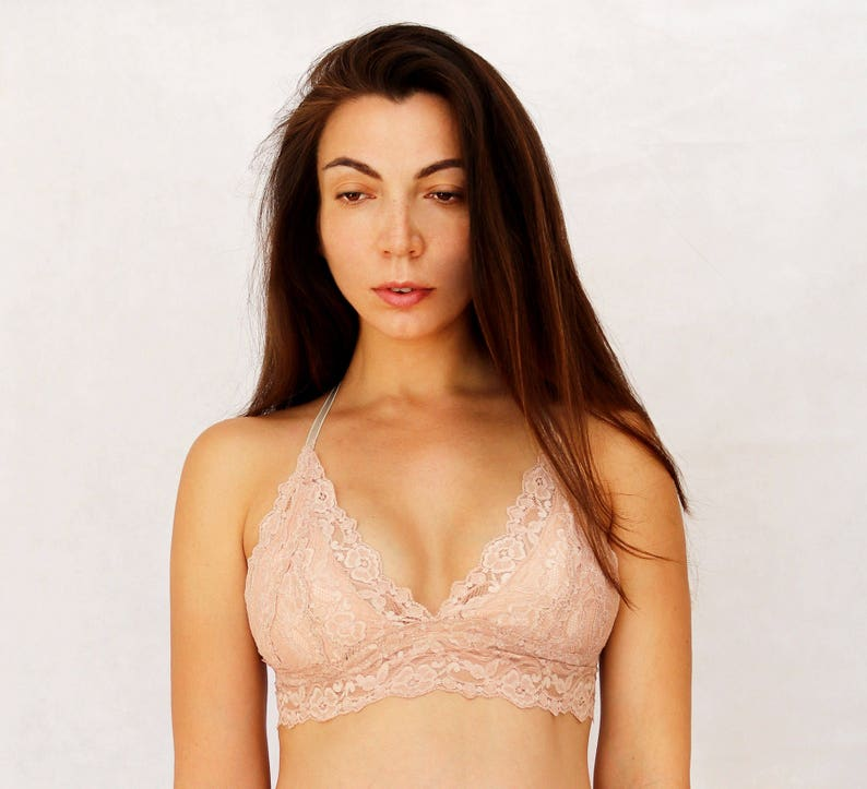 31548532c3 Beige Blush Lace Bralette. Triangle Skin Color Soft Wireless