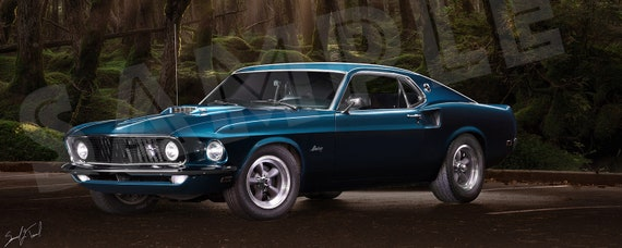 1967 Mustang Fastback >> Ford Mustang Fastback 1967 On Aluminum Metal Wall Art Classic Car In Forest 1967