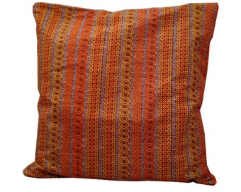 African Print Cushion, Teachers gift idea, Orange Brown Cushion Cover, READY TO SHIP, 18 x1 8 Pillow Cover Boho Chic Tribal, Detola and Geek