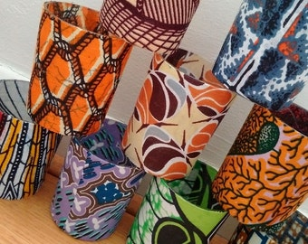 African Print Candle Holders, mixed set of 10 patterned holders