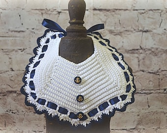 SAILOR Crochet Baby Bib - Navy & White with Gold Anchor Buttons - Baby Shower Gift -