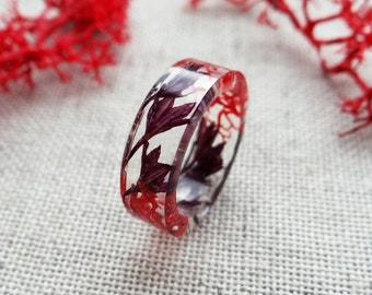 Purple cornflower red moss ring nature inspired engagement rings Nature necklace Reindeer lichen Real plant jewelry resin ring Nature rings