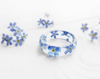 Pressed flower jewelry forget me not ring/for/her wedding bands womens ring anniversary ring forget me not jewelry resin ring terrarium ring