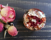 Red rose plug rose gold gauge wedding gauge floral plug bridal plug resin tunnel ear piercing pressed flower jewelry terrarium dry rose bud