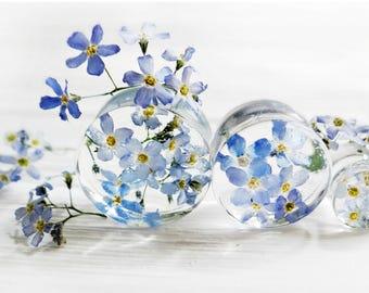 Forget me not blue flower plug earrings resin ear plug wedding plugs pressed flower wedding gauge ear tunnel terrarium jewelry 19mm 4g 2g 0g