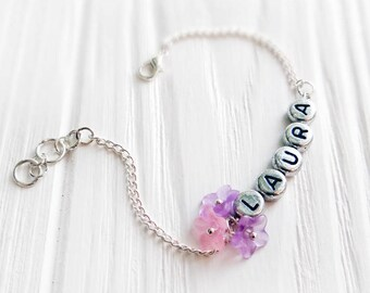 Custom name bracelet kids jewelry flower girl bracelet kids bracelet daughter birthday gift initial bracelet personalized bracelet kids name