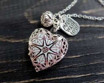 Secret message necklace locket necklace personalized necklace bride/to/be gift initial jewelry will you be my bridesmaid gift heart necklace