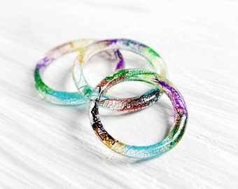Real leaf rings stacking ring set rainbow bridesmaid gift set stackable ring pressed flower jewelry lgbt pride gay lesbian girlfriend gift