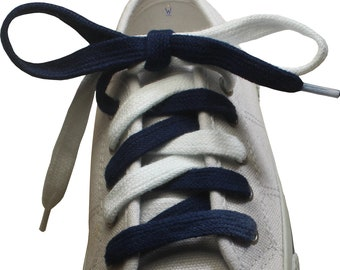 Learn to Tie Navy Blue and White Shoelaces