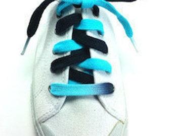 Carolina Panthers Shoelaces - Black and Light Blue bi-colored shoelaces