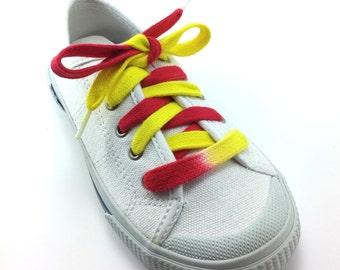 Red & Yellow Custom Bi-colored shoelace (Tyes)