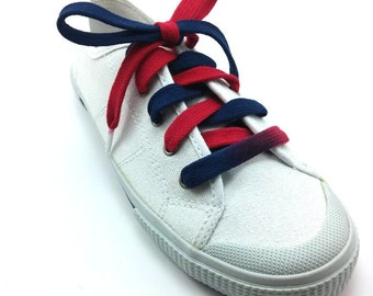 Navy Blue & Red Shoelaces (Tyes) - Custom made