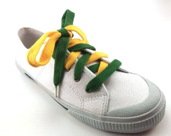 Learn to tie Green and Gold Bi-Colored Shoelaces-