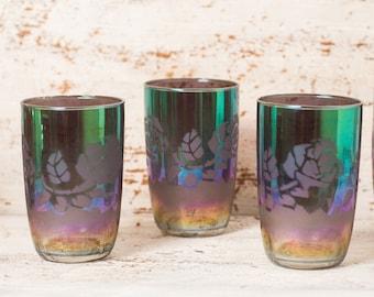 Rainbow glass water, drinkware glasses vintage, set retro party barware, drinkware set, metallic glasses juice, party serving rainbow