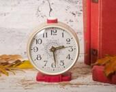 Vintage Soviet Jantar alarm clock, Antique mechanical wind-up clock, Retro USSR analog clock, Russian old clocks