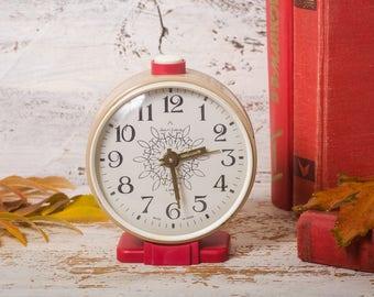 Desk clock vintage alarm clock russian  mechanical wind up  Jantar  red beige decor table clock retro alarm clock  manual winding clock 