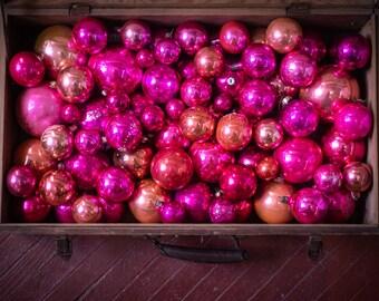 bohemian pine cone decor Soviet Xmas decorations 1950s glass ornaments set vintage boho Christmas tree retro gold pink corn decoration