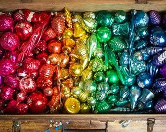 1950s rainbow vintage Christmas glass ornaments, Soviet Christmas baubles, Retro Xmas tree decor
