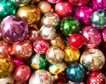 Assorted glass christmas tree ball ornaments, assortment xmas antique balls, vintage décor, midcentury ornament, winter holidays decor