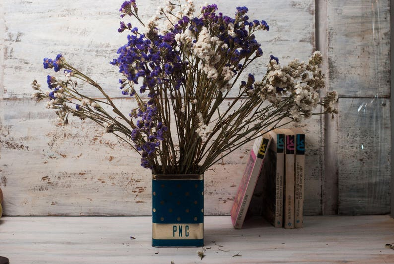 polka dot Soviet kitchen decor retro vase Vintage blue metal tin box rustic blue white storage container