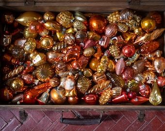 1950s Christmas glass vintage ornaments, Burnt orange decor, orange Christmas bohemian decorations